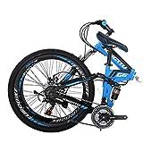 """26"""" Full Suspension Mountain Bike 21 Speed Folding Bicycle Men or Women MTB (G6 Blue)"""