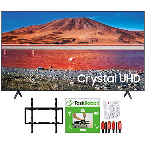 SAMSUNG UN43TU7000 43-inch 4K Ultra HD Smart LED TV (2020 Model) 360 Design Bundle with TaskRabbit Installation Services + Deco Gear Wall Mount + HDMI Cables + Surge Adapter