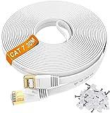 Câble Ethernet 30m Cat 7 Plat Câble haute vitesse Lan- Connecteur réseau RJ45...