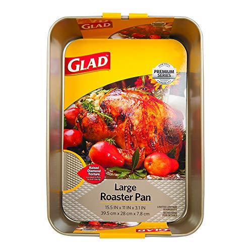 Glad Premium Nonstick Roaster Pan  Oven Baking Sheet with Raised Diamond Texture, Whitford Gold, Large