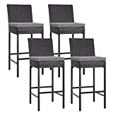 VIVOHOME 4 Packs Outdoor Wicker Barstool Patio Rattan Furniture with Cushions Black