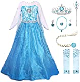 JerrisApparel Christmas Party Dress Princess Costume Halloween Cosplay Dress Up (3-4 Years, Blue with Accessories)
