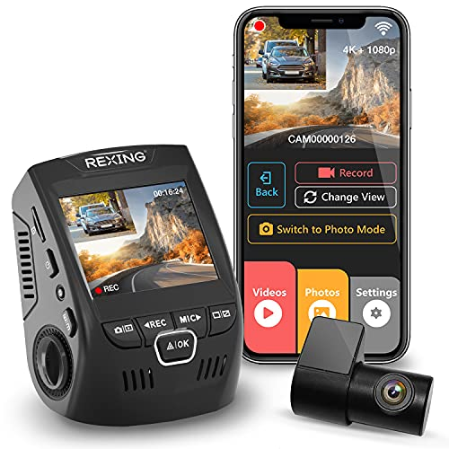"""Rexing V1P 4K 2.4"""" LCD 2160p Front + 1080p Rear Wi-Fi 170° Wide Angle Dual Channel Dashboard Camera Recorder Car Dash Cam with Rear Cam, G-Sensor, WDR, Loop Recording Mobile App Supercapacitor (2021)"""