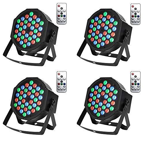 UFLIZOGH 36 LED Scheinwerfer Bühnenlicht Effektstrahler RGB Strobe Lights Spotlight Disco Ball Projektor mit Sound und Fernbedienung DMX512 für Bar Party Concert Pub