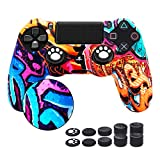 6amLifestyle PS4 Controller Cover Skin Graffiti, PS4 Controller Grip Silicone Anti-Slip Protector Case for Sony PS4, PS4 Slim, PS4 Pro (1 PS4 Controller Skin Case with 10 Thumb Grips, Graffiti)