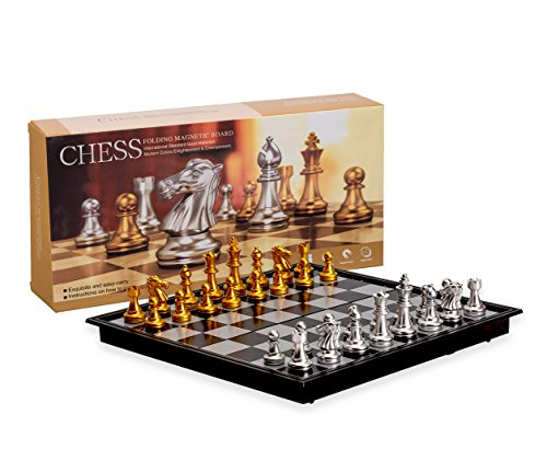 Magnetic Travel Chess Set with Board That Becomes A Storage Compartment  Great Travel Toy Set by Big Mos Toys