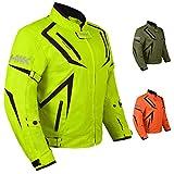 Motorcycle Jacket Riding HWK Mens Textile Motocross Dualsport Racing Hi-Vis Biker CE Armored Waterproof Jackets (H-Vis Green, 2XL)
