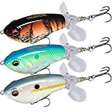 TRUSCEND Fishing Lures for Bass Trout Double Floating Rotating Tail Topwater Whopper Swimbaits Bass Lures Freshwater Saltwater Bass Fishing Plopper Lures Kit Lifelike Fishing Gifts for Men