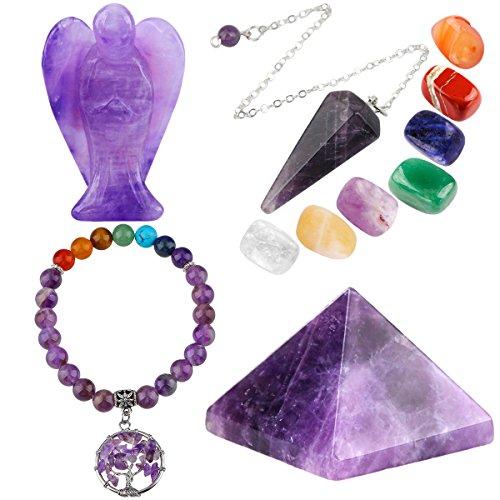 mookaitedecor Amethyst Healing Crystals Set, 7 Chakra...