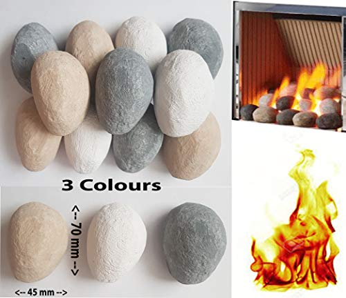 20 Mixed Gas Fire Pebbles. White, Grey and Beige. Made in UK. Suitable for Gas/LPG/Living Flame Fires