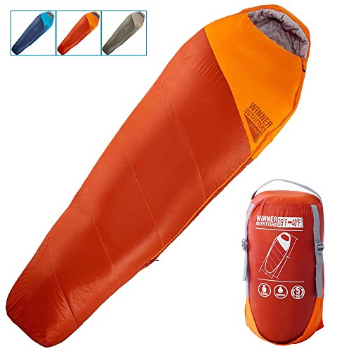 Winner Outfitters Mummy Sleeping Bag With Compression Sack.