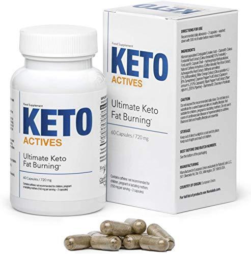 KETO ACTIVES Premium - El mejor ingrediente 100% natural, enorme quema de grasa, eliminación de grasa corporal en cintura, caderas y piernas, 60 cápsulas.