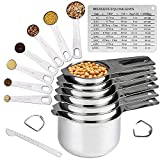 Accura's 14-piece Stainless Steel Measuring Cups and Spoons Set - Stackable with Spout and Chart