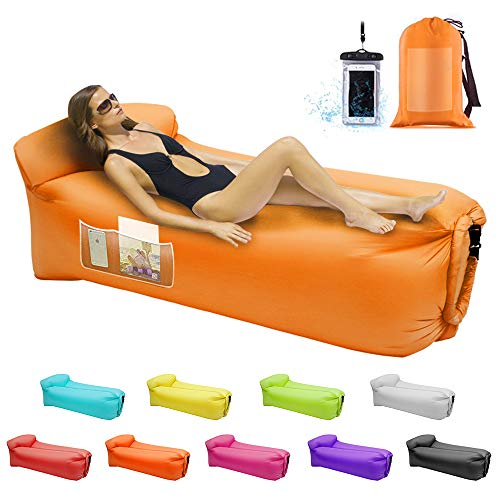 Inflatable Loungers Air Sofa,Inflatable Couches and Sofas Anti-Air Leaking Pouch Couch for Outdoor,Backyard,Parties,Beach,Travel,Camping,Self Inflating Lounger with Pillow and Carrying Bag(Orang)