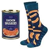 soxo chaussettes Colorées pour hommes fantaisie saucisses | coffret drôle canette | 40-45 EU | chaussettes rigolotes en coton hautes |idée cadeau emballé |motifs nourriture, pour homme, funny socks