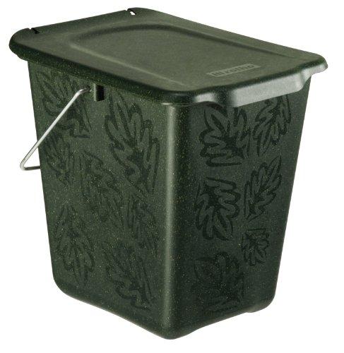 Rotho Greenline Komposteimer 7 l, Kunststoff (PP), grün, 7 Liter (26 x 20,8 x 25,2 cm)