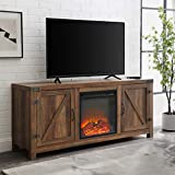 Walker Edison Georgetown Modern Farmhouse Double Barn Door Fireplace TV Stand for TVs up to 65 Inches, 58 Inch, Reclaimed Barnwood