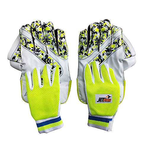 JetFire Ibex College Wicket Keeping Gloves Combo with Inner Gloves (Men, Green)