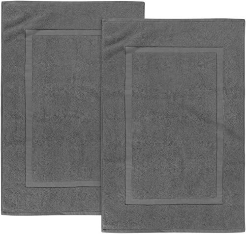 Utopia Towels Cotton Banded Bath Mats, Grey, [Not a Bathroom Rug], 21 x 34 Inches, 100% Ring Spun Cotton - Highly Absorbent and Machine Washable Shower Bathroom Floor Towel (Pack of 2)