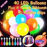 Feeke 40 Ballons Lumineux à LED,Les lumières de fête Clignotantes de...