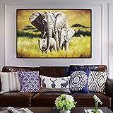 YuanMinglu Animal Elefante bebé Lienzo Pintura Pintura al óleo Arte Cartel de la Pared Sala de Estar decoración de la Pared decoración del hogar Pintura sin Marco 40x60 CM
