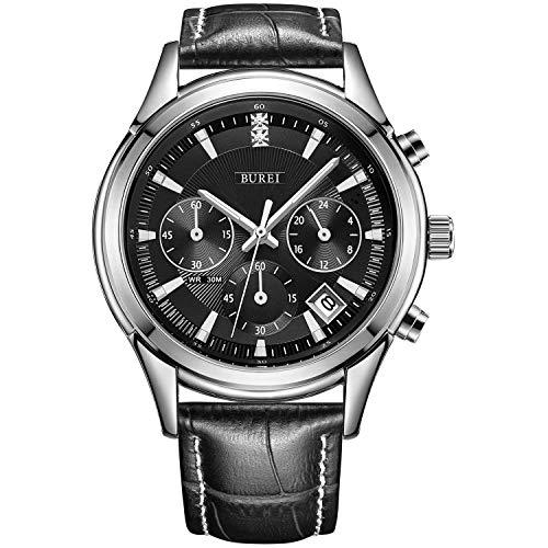 BUREI Herren Chronograph Uhren Einfaches Classic Quarz Armbanduhr mit Weißem-dial Datum Kalender (schwarz)