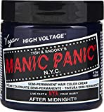 Manic Panic After Midnight Blue Hair Color Cream – Classic High Voltage - Semi-Permanent Hair Dye - Vivid, Blue Shade - For Dark, Light Hair – Vegan, PPD & Ammonia-Free - Ready-to-Use, No-Mix Coloring