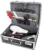 Bolsa de peine Herramientas portátiles de aluminio Barber Maleta caja de herramientas de peluquería, organizador del caso de contraseña de almacenamiento de Caja, Color: Plata Bolsa de equipos de bell