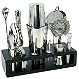 Highball & Chaser Bartender Kit with Espresso Bamboo Stand Beautiful Cocktail Shaker Bar Set with Highest Quality Bar Tools/Bar Accessories Stainless Steel Boston Shaker Bartender Kit with Stand