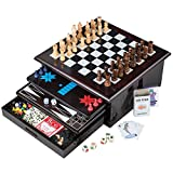 Board Game Set - Deluxe 15 in 1 Tabletop Wood-accented Game Center with Storage Drawer (Checkers, Chess, Chinese Checkers, Parcheesi, TicTacToe, SOlitaire, Snakes and Ladders, Mancala, Backgammon, Poker Dice, Playing Cards, Go Fish, Old Maid, and Dominos)