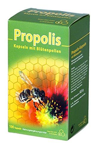 Propolis-Kapseln 100 Stk Mit Blütenpollen | Natürliches Bienenharz | Nahrungsergänzungsmittel