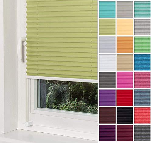 Home-Vision Premium Plissee Faltrollo ohne Bohren mit Klemmträger / -fix (Grün, B25cm x H120cm) Blickdicht Sonnenschutz Jalousie für Fenster & Tür
