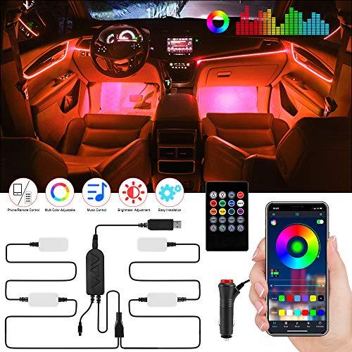 Striscia LED Auto, Aimocar RGB Impermeabile Kit di Illuminazione Auto Luci Interne Musica Kit di illuminazione Sync to Music con APP Telecomando USB per Varie Auto DC 12V
