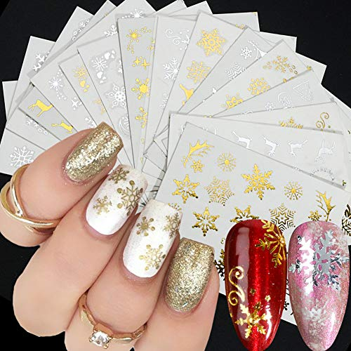 Christmas Nail Art Stickers Christmas Nail Gold Silver Snowflakes Nail Stickers Water TransferDecals Christmas Nail Art Decorations 3D Charms Designs Manicure 16 Sheets