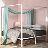 Zinus Patricia White Metal Framed Canopy Four Poster Platform Bed Frame / Strong Steel Mattress Support / No Box Spring Needed, Queen
