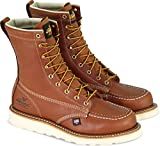 """Thorogood American Heritage 8"""" Steel Toe Work Boots for Men - Premium Leather Moc Toe, Safety Toe Boots with Shock Absorbing, Slip-Resistant MAXWedge Outsole; ASTM Rated, Tobacco oil-tanned - 11 D US"""