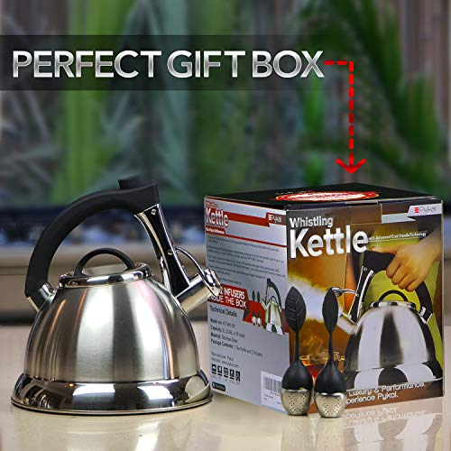 Product Image 6: Whistling Tea Kettle with iCool - Handle, Surgical Stainless Steel Teapot for ALL Stovetops, 2 FREE Infusers Included, 3 Quart by Pykal
