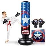 """AstarX Saco de boxeo para niños – Capitán América bolsa de boxeo para rebote inmediato para practicar karate, taekwondo, MMA y para aliviar la energía Pent Up en niños y adultos/alto 5' 3"""""""