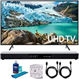 Samsung 43' RU7100 LED Smart 4K UHD TV 2019 Model (UN43RU7100FXZA) with Screen Cleaner for LED TVs, SurgePro 6-Outlet Surge Adapter, 2X HDMI Cable & Home Theater 31' Soundbar