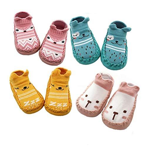 XM-Amigo, 4 paia di calzini antiscivolo per bambini e bambine, per interni, (Rosa Set02), 6-12 mesi