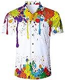 ALISISTER Camisa Hawaiana Hombre Estampado en 3D Pintada Botn Informal Abajo Playa Camisa Manga...