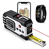 Laser Tape Measure, 2D Floor Plan + 3D Rendering, 2 in 1 Bluetooth Laser Measure 6 Unit Switching, USB-Charge, Measure Distance, Area, Volume, Pythagoras, a Must Have for Contractors (195ft)