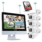 ANNKE 8CH 1080P Wi-FI Système de vidéosurveillance NVR sans Fil avec l'écran LCD 12'',avec 4 caméras 1080P IP intérieures et extérieures,économiseur d'écran Automatique,Disque Dur de 1TB