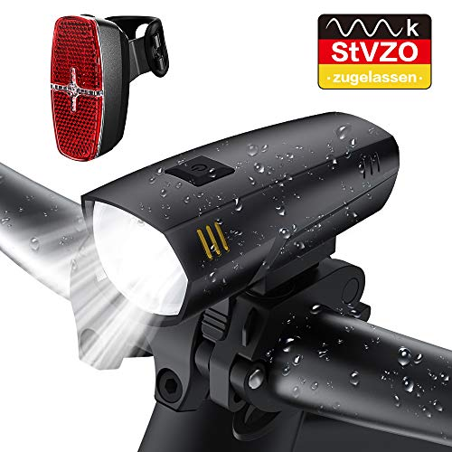 LIFEBEE LED Fahrradlicht Set, StVZO Zugelassen LED Fahrradbeleuchtung IPX5 Wasserdicht Frontlicht Rücklicht Fahrradlampe Fahrradlichter, 2 Licht-Modi, Batterie Nicht Inklusive