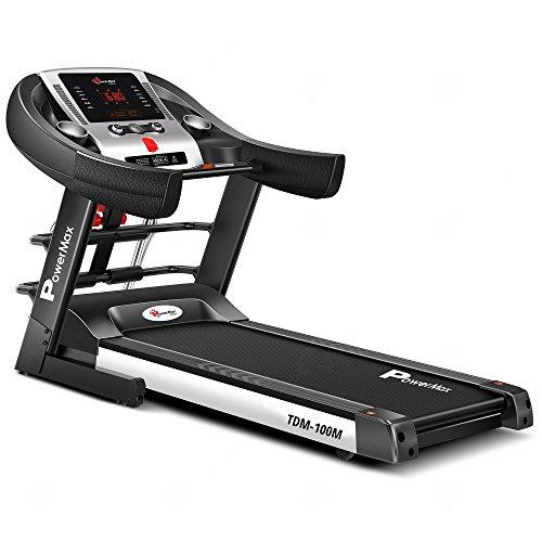 Powermax Fitness TDM-100M (2.0HP), Semi-Auto Lubrication, Multifunction Treadmill for home fitness