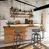 Homy Casa Juego de 2 taburetes de bar, estilo industrial, estilo vintage, parte superior de MDF y...