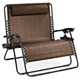 Best Choice Products 2-Person Double Wide Adjustable Folding Steel Mesh Zero Gravity Lounge Recliner Chair for Patio, Lawn, Balcony, Backyard, Beach, Outdoor Sports w/Cup Holders -Brown