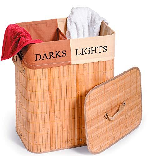 Tatkraft Fortuna Bambus-Wäschekorb mit 2 Fächern und Belüftungssystem für Licht und Dunkelheit, hergestellt aus 100% natürlichem Bambus, Textiltasche mit einem Fassungsvermögen von 60 l