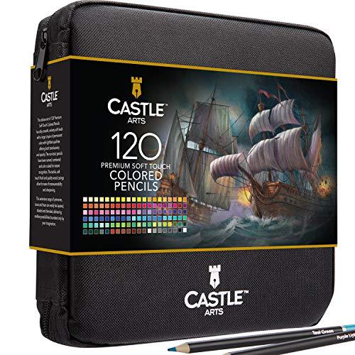 Castle Art Supplies 120 matite colorate in un astuccio con cerniera, perfetto per tutti i colori lisci e colorati. Per adulti Bambini artisti principianti e in una robusta valigetta da viaggio