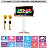 21.5'' HAJURIZ Touch Screen Karaoke Player,2TB HDD Preloaded with English,Vietnamese Songs,Android KTV Dual system,Wireless Microphone.